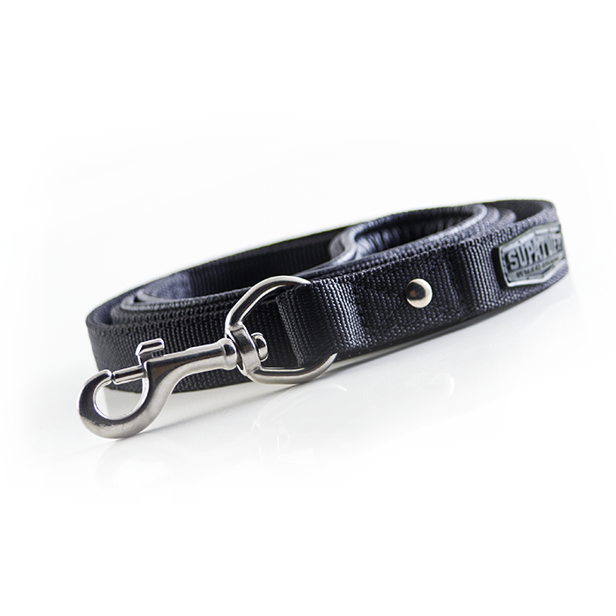 Matching plain black leash 120cm with Stainless Steel Clasp