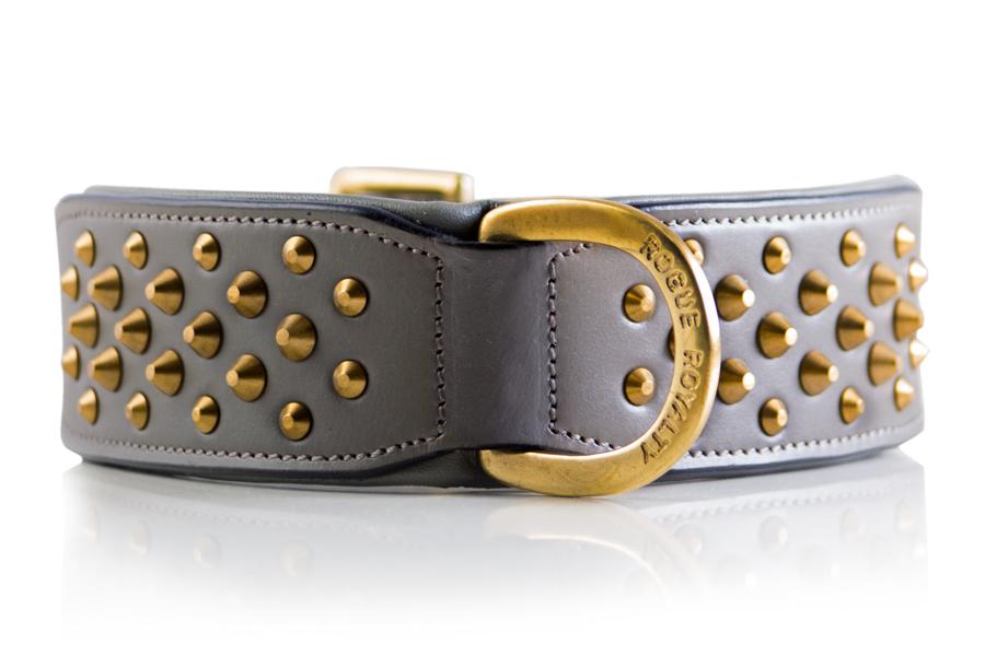 Ruff Neck Collar - Grey & Brass