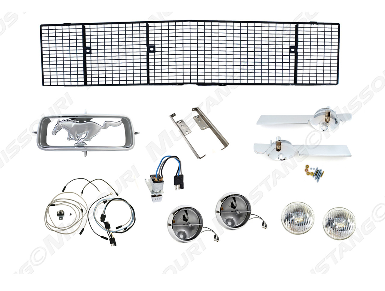 1967 Ford Mustang fog light conversion kit with grille.