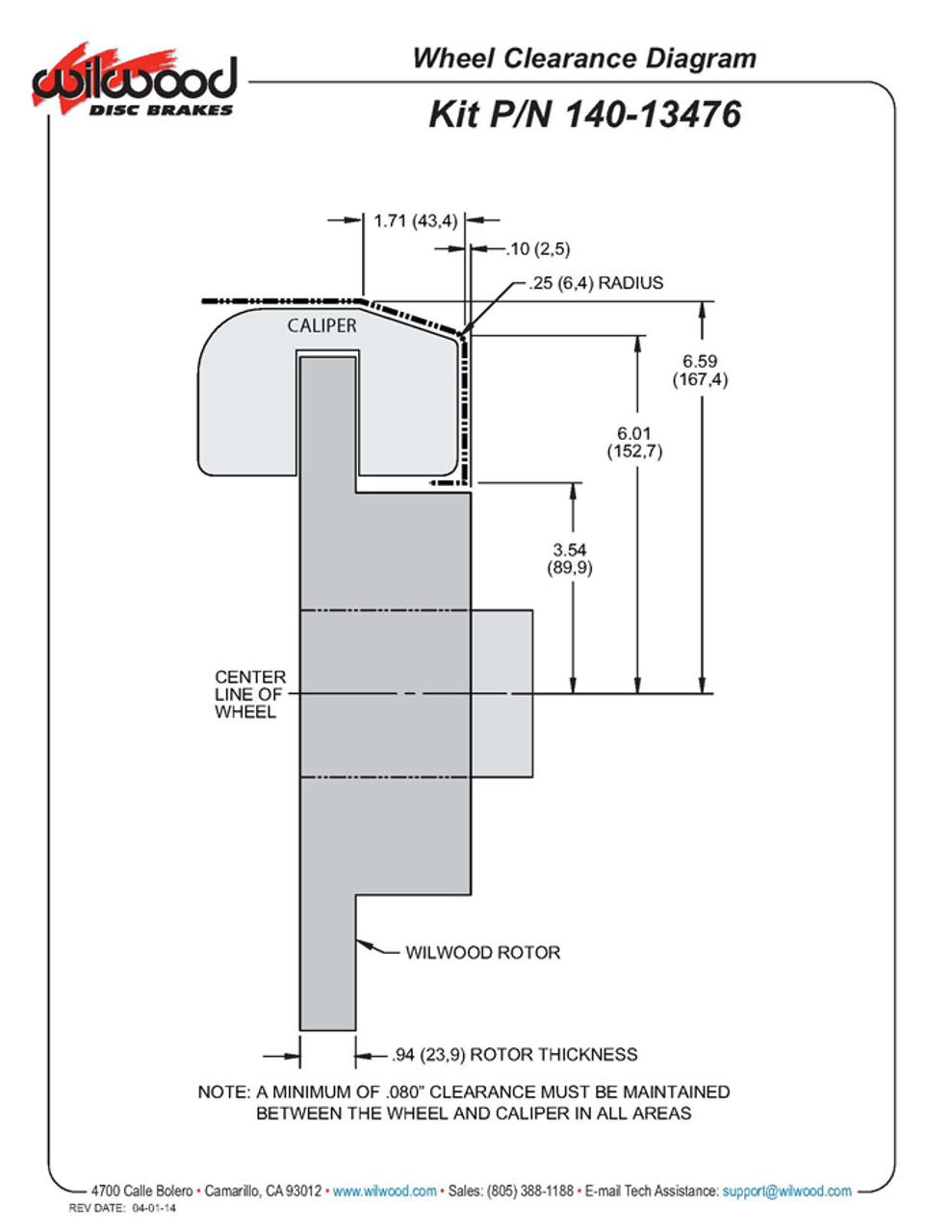 Wilwood wheel clearance diagram.  1964-1969