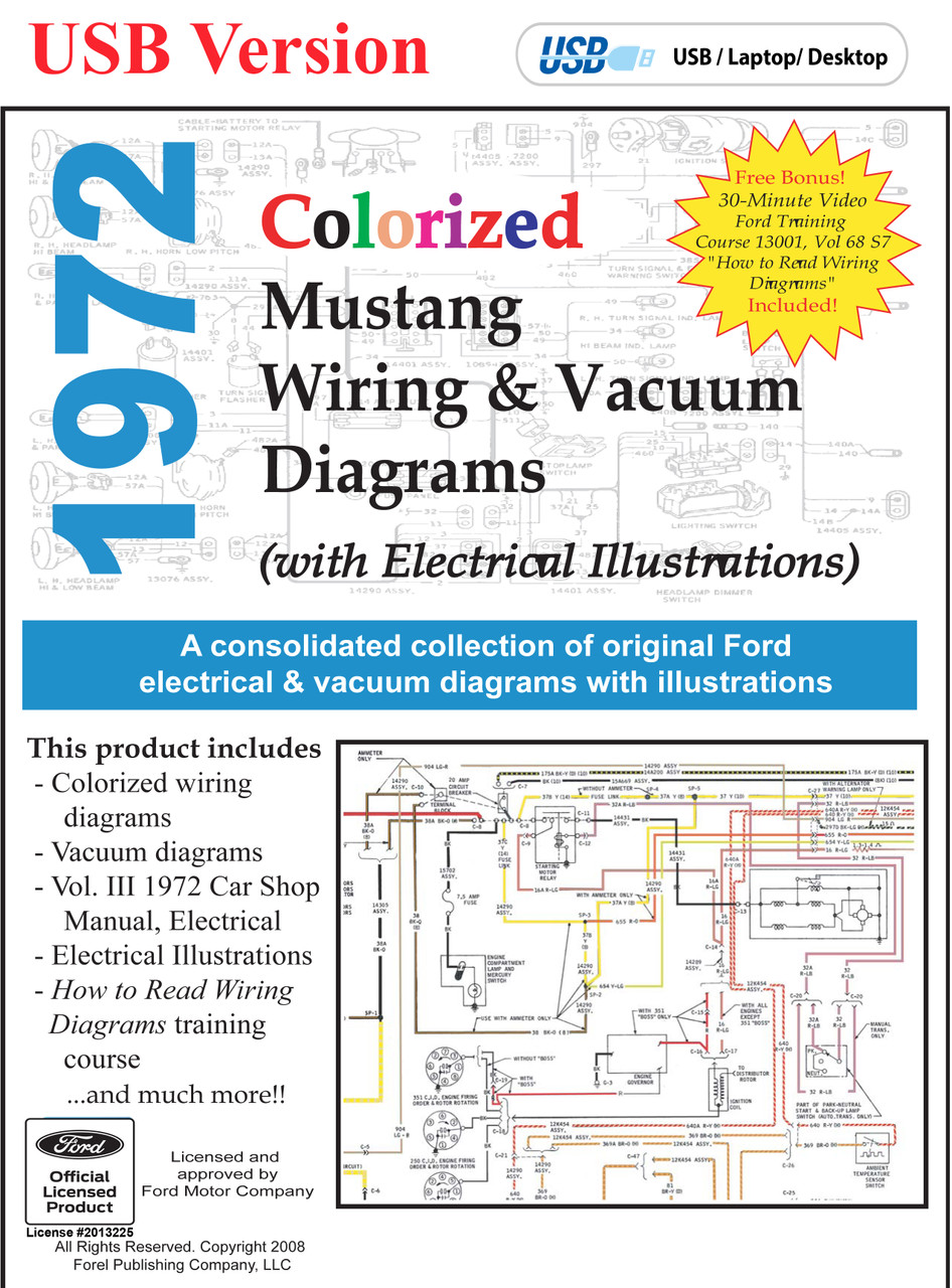 1972 Ford Mustang Colorized Wiring  U0026 Vacuum Diagram