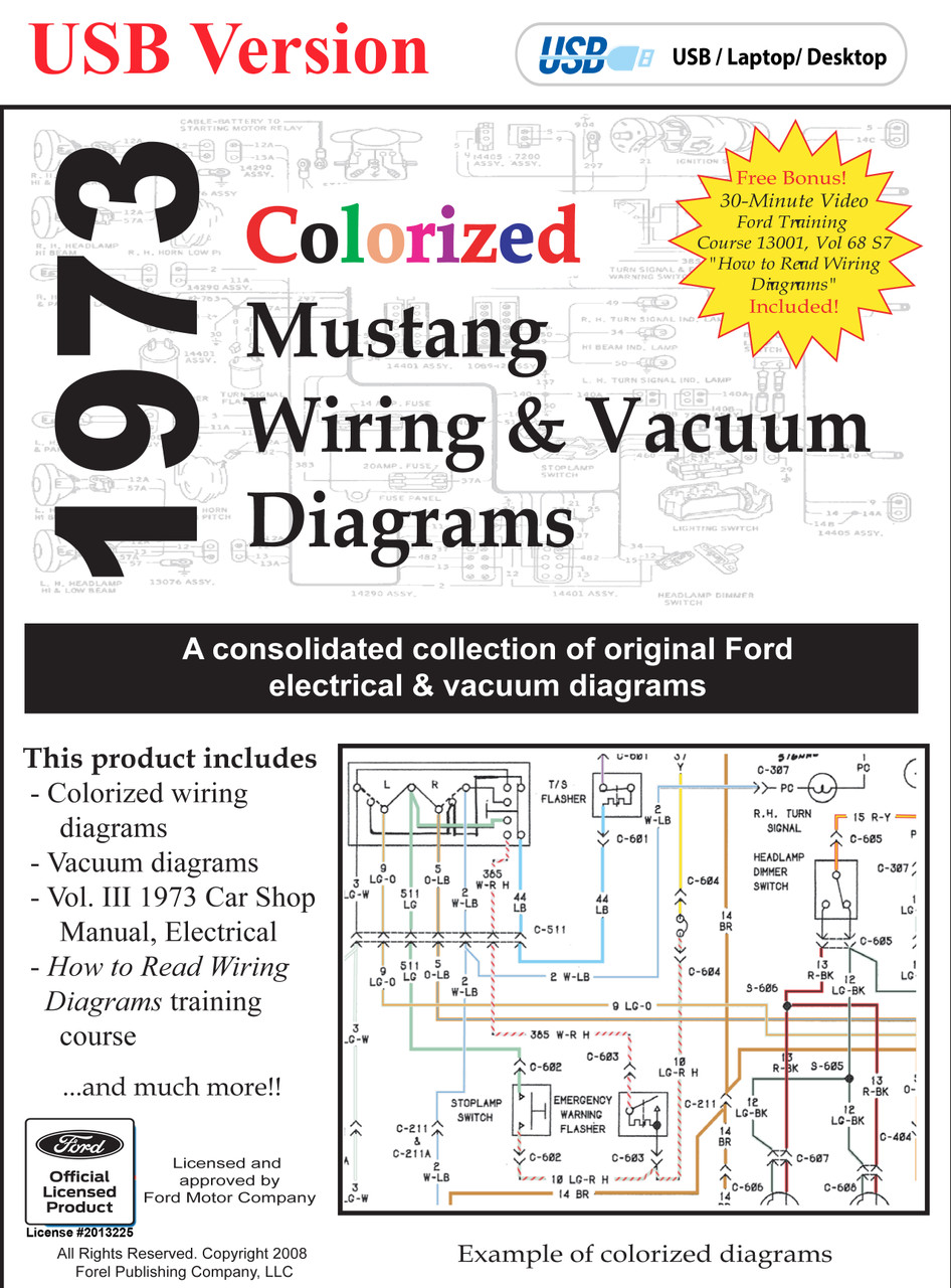 1973 Ford Mustang Colorized Wiring  U0026 Vacuum Diagram