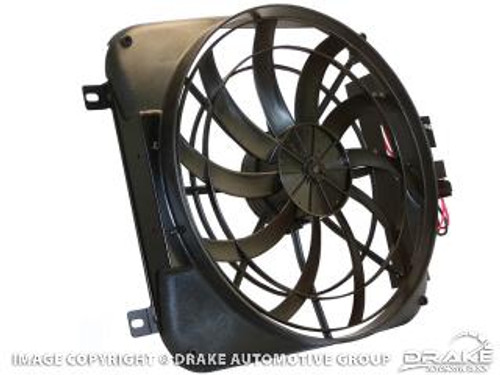 "1967-1969 Ford Mustang high performance 2070 CFM 20"" Electric Fan and Shroud Kit.  Helps prevent overheating in stop-and-go traffic, improve engine performance, and gas mileage."