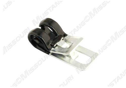 1964-1970 Ford Mustang speedometer cable retainer at the transmission cross member brace.