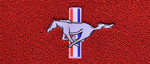 1969-1973 Ford Mustang floor mat logo, silver running horse.