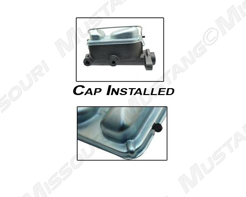 1969-1972 Ford Mustang master cylinder cap, concours. Image shows cap installed on master cylinder (sold separately).