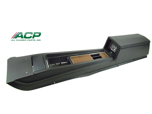 1969 Ford Mustang console assembly for automatic transmission with deluxe woodgrain interior.