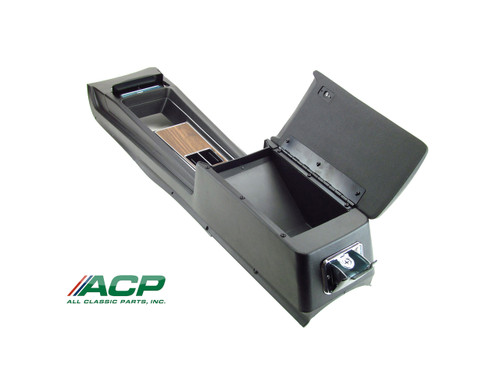 1969 Ford Mustang console assembly for manual transmission with deluxe woodgrain interior.