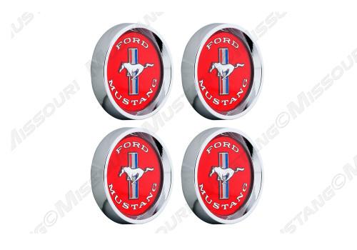 Legendary Wheel Tri-Bar Running Horse center cap set, red.