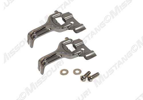 1979-1993 Ford Mustang upper radiator bracket and bolt set, polished stainless steel.