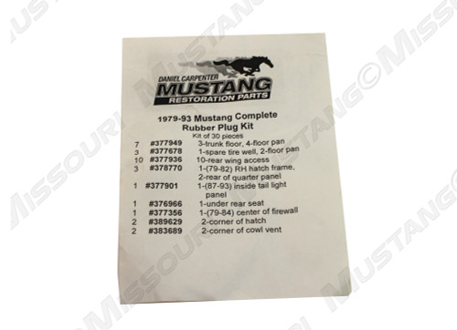 1979-1993 Ford Mustang rubber plug kit, 30 pieces.