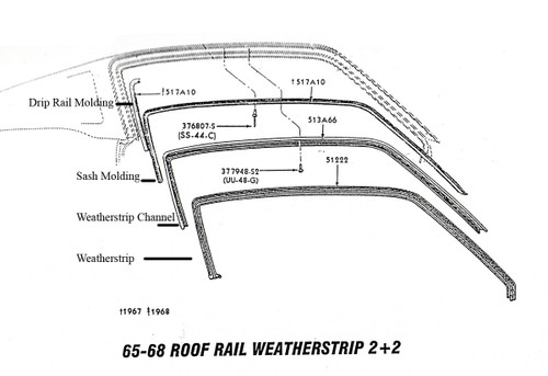 Exploded view showing the roof rail pieces.