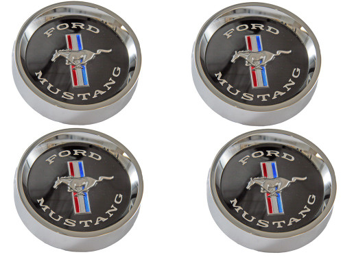 1964-66 Ford Mustang styled steel center caps, black.