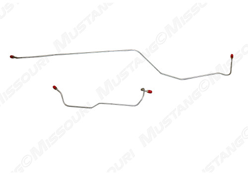 1964-1966 Ford Mustang rear end housing brake lines, set.  Fits 8 cylinder, 8 inch housing.  Made for models with factory dual exhaust.