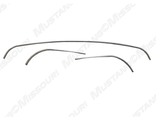 1965-1966 Ford Mustang convertible top rear tack strip, 3 piece set.