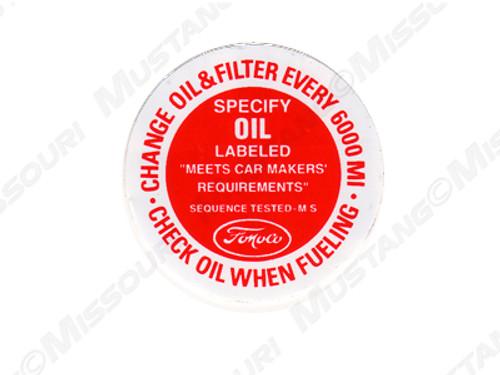 1964-66 Oil Filler Cap Decal