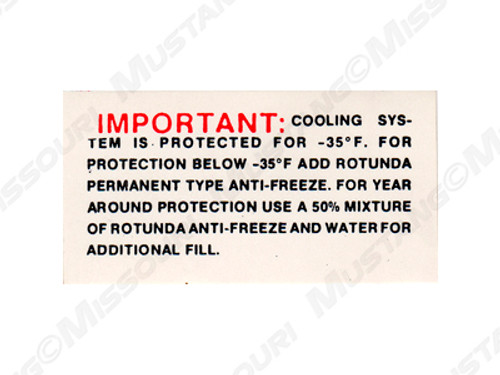 1964-66 Cooling Warning Decal