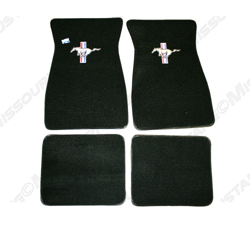 1964-1968 Ford Mustang carpeted floor mats with logo.