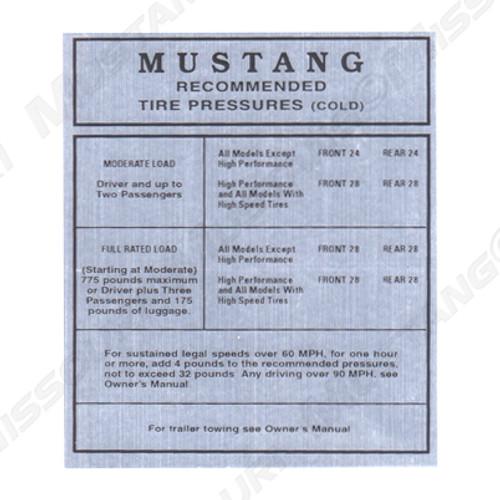 1964-65 Glove Box Decal Tire Pressure