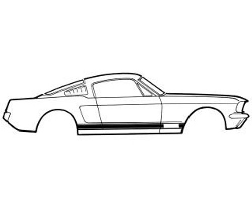 1969 Ford Mustang GT stripe kit. Kit completes both sides of the car.
