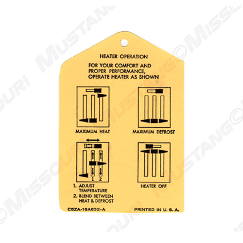 1965-66 Heater Operation Tags
