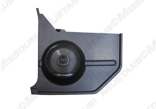 1964-1968 Ford Mustang convertible molded kick panels with Pioneer speaker.  Front view.