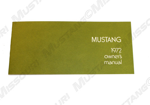 1972 Ford Mustang Owners Manual