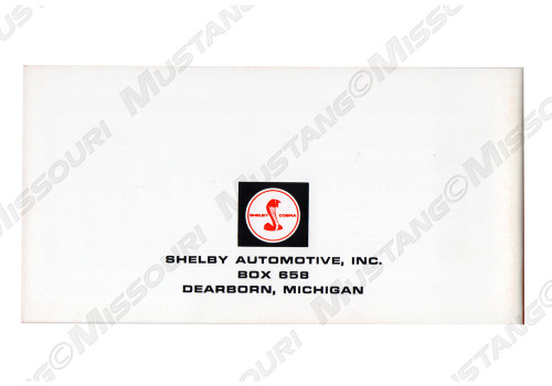 1968 Ford Mustang Shelby Owners Manual back.