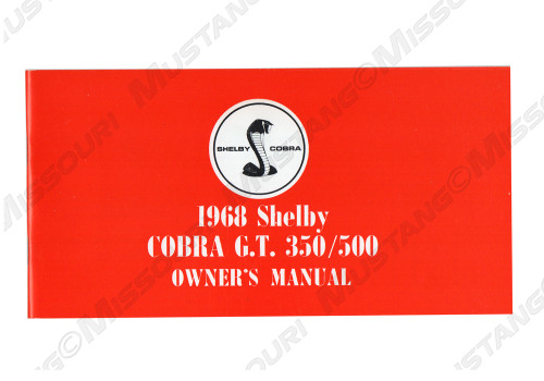 1968 Ford Mustang Shelby Owners Manual
