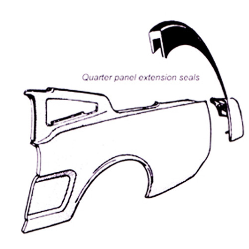 1969-1973 Ford Mustang quarter extension seal, pair.