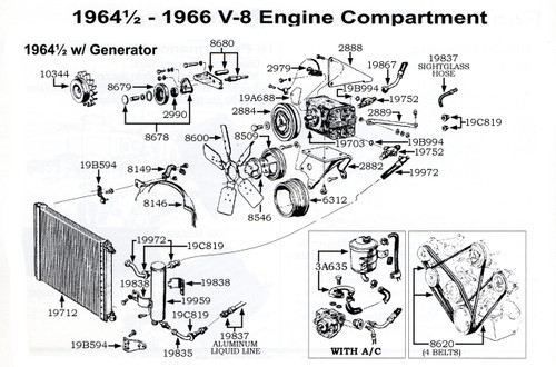 1964 Ford Mustang V8 air conditioning, exploded view.