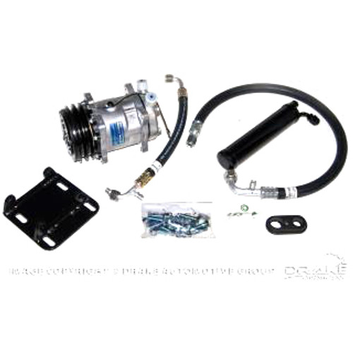 1966 Ford Mustang Sanden compressor conversion kit for V8 engines.  Uses R134a refrigerant.