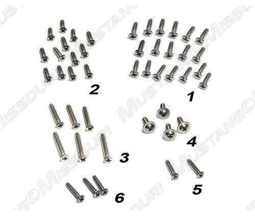 1964-1966 Ford Mustang Convertible trim screw kit, 46 piece kit.