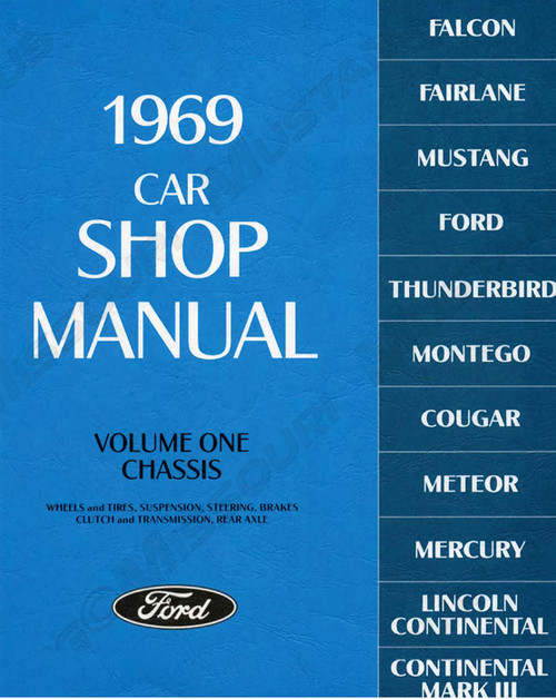1969 Ford Mustang Shop Manual Set of 5 books