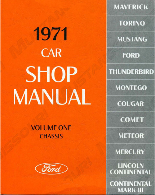 1971 Ford Mustang Shop Manual Set of 5 books