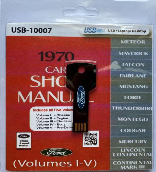 1970 Cougar, Falcon, Fairlane, Mercury, Montego, Thunderbird, Meteor, Lincoln Continental, Continental Mark III and Mustang Shop Manual on a flash drive.