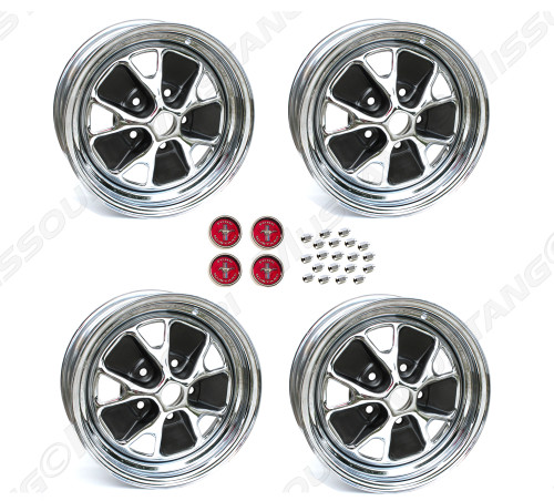 """1965 Ford Mustang styled steel wheels, 14"""" X 5"""", chrome rim with charcoal paint, set of four. 3 3/4"""" back spacing."""