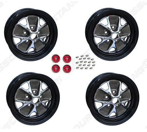 """1966 Ford Mustang styled steel wheels, 14"""" X 5"""", with black rims, set of four. 3 3/4"""" back spacing."""