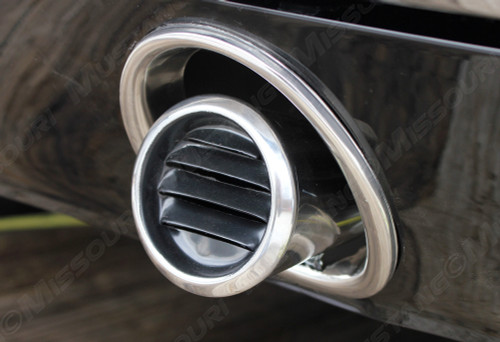1965-1966 Ford Mustang GT exhaust trim ring installed.