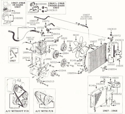 1964-66 Ford Mustang 6 cylinder air conditioning, exploded view.