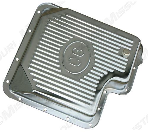 1967-1973 Ford Mustang chrome transmission pan, C-6 transmission, aftermarket.