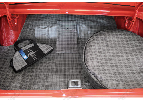 1964-1973 ford mustang trunk mat kit in plaid