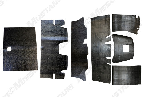 1964-1973 Ford Mustang Coupe, Convertible and Fastback sound deadener underlayment kit by Repops™.  7 piece kit shown.