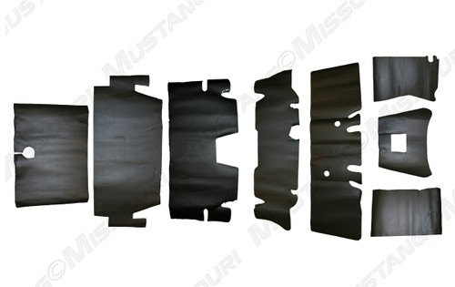1964-1973 Ford Mustang Coupe, Convertible and Fastback sound deadener underlayment kit. Coupe kit pictured.