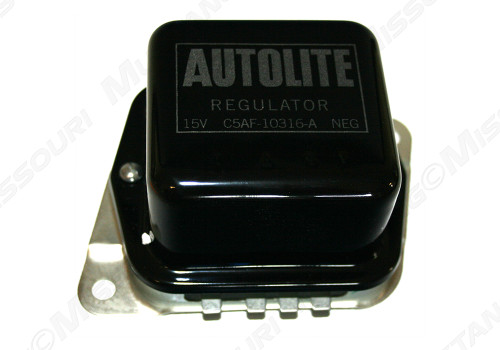 This is an example of the 1965-1967 Ford Mustang voltage regulator without air conditioning.