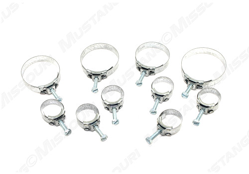 1967-1968 Ford Mustang band hose clamp kit, 10 piece kit.  Correct Wittek band clamp from Marti Auto Works.