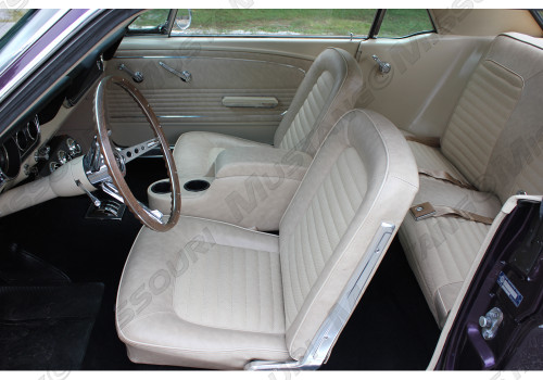 1966 Ford Mustang coupe, convertible and fastback full set standard upholstery. Covers the two front buckets and rear seat.