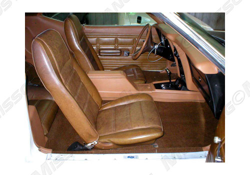 1971-1973 Ford Mustang coupe, convertible and fastback full set standard upholstery. Covers the two front buckets and rear seat.