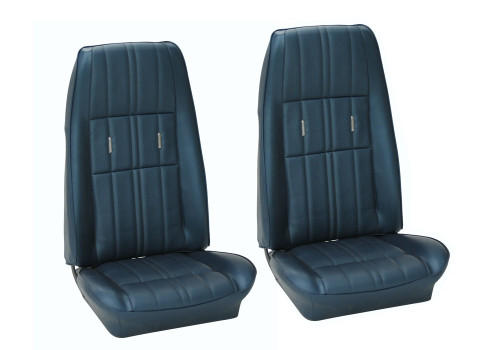 1971-1973 Ford Mustang Coupe, Convertible and Fastback front buckets, Deluxe upholstery, pair.  Made in USA by TMI™ Products.