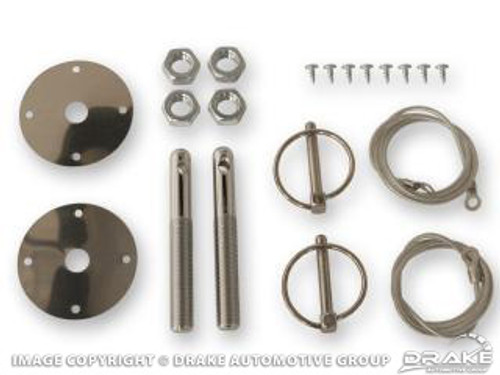 1964-73 Hood Pin Kit w/ Cables